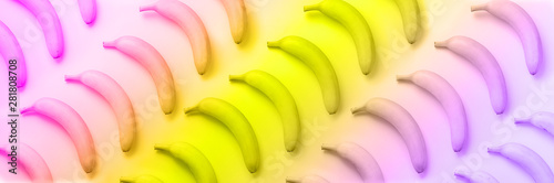 Geometric colorful fruit pattern. Bananas over rainbow gradient background. Banner. Top view. Pop art design, creative summer concept in neon colors. Minimal flat lay style.