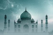 Taj Mahal India, Night Sky With Stars And Fog Over Taj Mahal In Agra