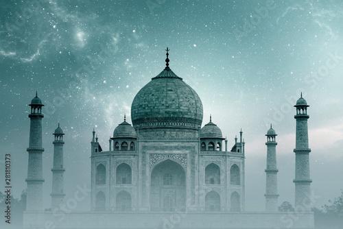 Stampa su Tela  Taj Mahal India, night Sky with Stars and Fog over Taj Mahal in Agra