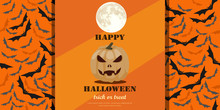 Halloween Greeting Card Concept. Jack O' Lantern Glowing At Moonlight With Spooky Background Of Many Bats. Flat Design Vector Illustration.