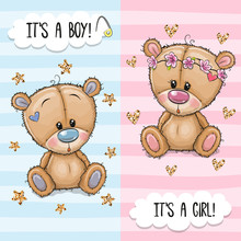 Greeting Card With Cute Teddy Bears Boy And Girl