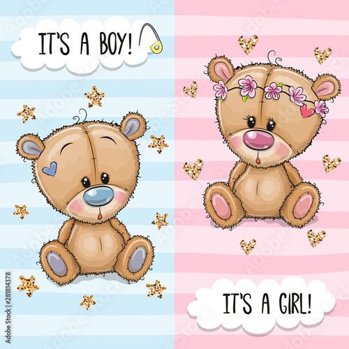 Fotografía Greeting card with Cute Teddy Bears boy and girl