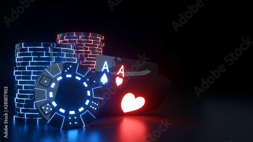Fotografía  Heart And Spade Aces With Casino Chips And Futuristic Glowing Neon Lights Isolat