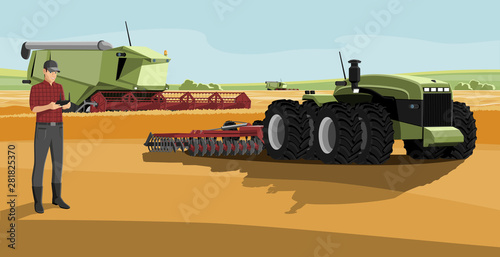 Aufkleber - Farmer with autonomous harvester and tractor on a smart farm. Digital transformation in agriculture. Vector illustration