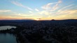 A semi static clip of a sunset in the little city of Annecy France at the border of Switzerland