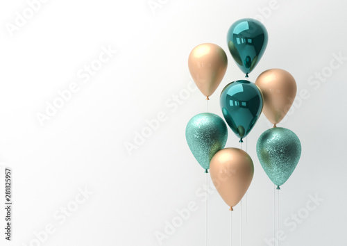 Fotografie, Obraz  Set of colorful balloons with empty space for text