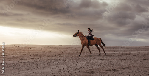 Woman horseback riding on beach at sunset