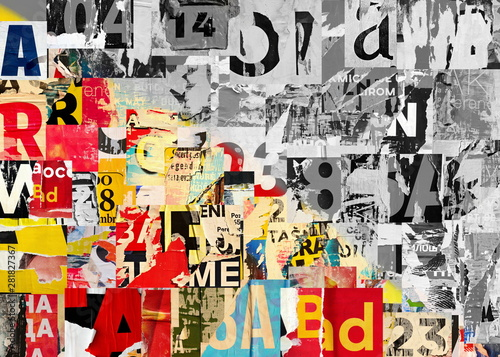 Collage of many numbers and letters ripped torn advertisement street posters gru Wallpaper Mural