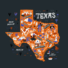 Texas Orange Map Flat Hand Drawn Vector Illustration. Western American State Infographic Doodle Drawing. Texas Landmarks, Attractions And Cities Guide. USA Travel Postcard, Poster Concept Design