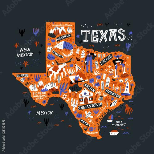 Texas orange map flat hand drawn vector illustration ...