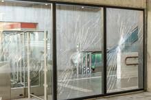 Protests Terrorists Terrorist Attack Broken Window Glass Subway Showcase Rebellion, Confrontation, Lawlessness, Crime, Riots