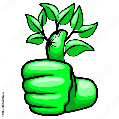 Foto op Aluminium Draw Green Hand Thumb Up and Leaves Ecological Vector Illustration