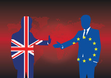 Silhouettes Businessmen Textured With UK And EU Flags With No Agreement For Brexit