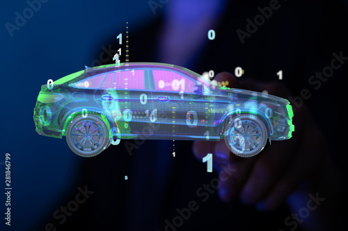 digital car technology smart in virtuel room Fototapet