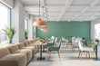 canvas print picture - Green and white restaurant interior