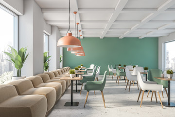 Green and white restaurant interior
