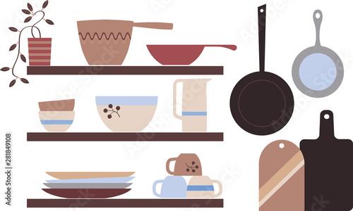 Modern Scandinavian rustic style kitchenware on shelves, EPS 8 vector illustrati Canvas Print