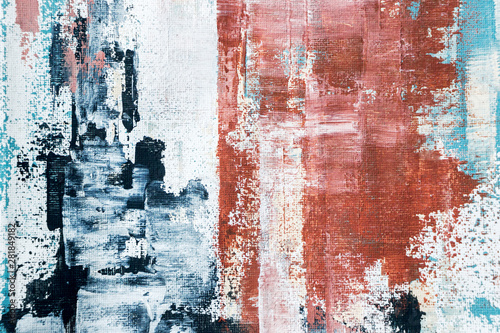 Naklejki Malarstwo abstract-textured-red-and-blue-acrylic-painting-on-canvas