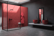 Red And Gray Bathroom Corner, ...