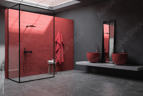 Stampa su Tela  Red and gray bathroom corner, shower and sink