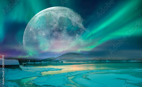 Wall Murals Northern lights Northern lights (Aurora borealis) in the sky with super full moon - Tromso, Norway