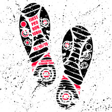 Black Shoes Print Silhouette With Red Text For Marathon Poster