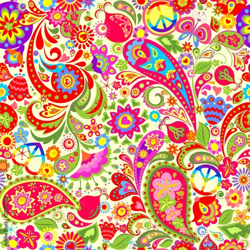 Fototapeta Hippie vivid colorful wallpaper with abstract flowers, hippie peace symbol with