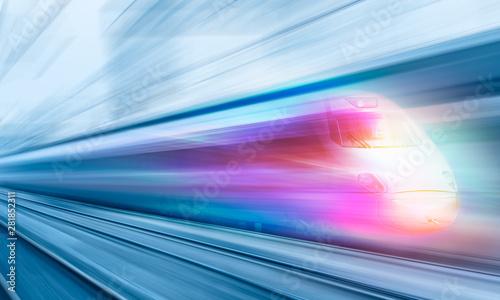 Pinturas sobre lienzo  High speed train runs on rail tracks . Train in motion