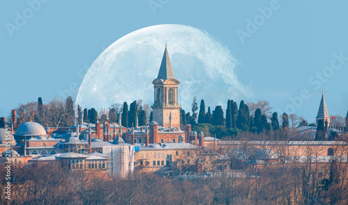 Valokuva  Topkapi Palace with full moon - Istanbul, Turkey Elements of this image furnish