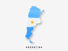 Argentina Detailed Map With Flag Of Country. Painted In Watercolor Paint Colors In The National Flag