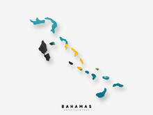 Bahamas Detailed Map With Flag Of Country. Painted In Watercolor Paint Colors In The National Flag