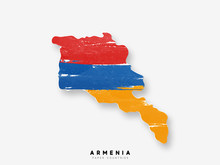 Armenia Detailed Map With Flag Of Country. Painted In Watercolor Paint Colors In The National Flag