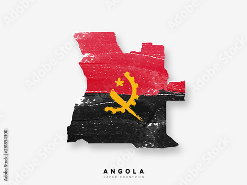 Photo Angola detailed map with flag of country