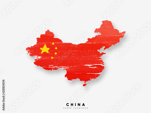 Fotografie, Obraz China detailed map with flag of country
