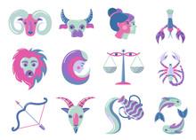 Set Of Modern Color Zodiac Sig...