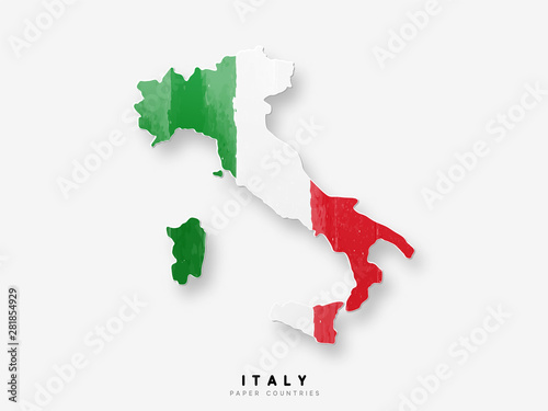 Italy detailed map with flag of country Wallpaper Mural