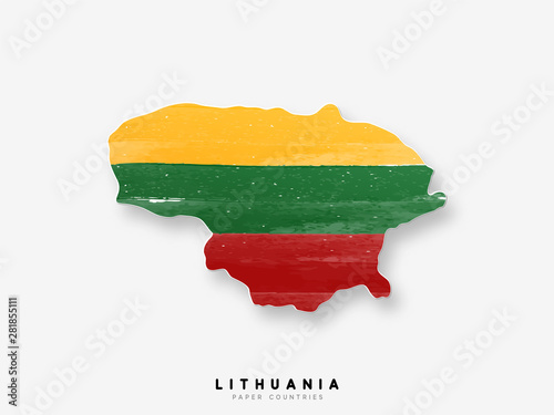 Lithuania detailed map with flag of country Wallpaper Mural