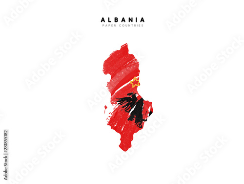 Photo Albania detailed map with flag of country
