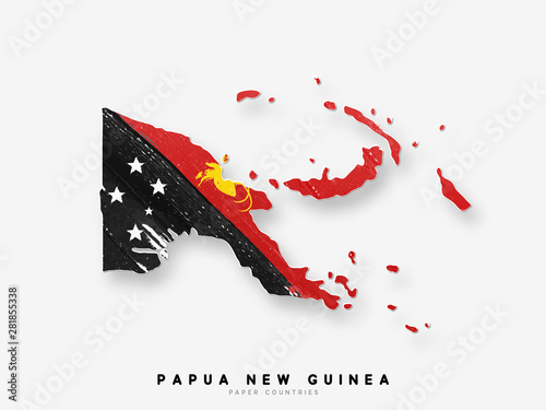 Fotografie, Obraz Papua New Guinea detailed map with flag of country