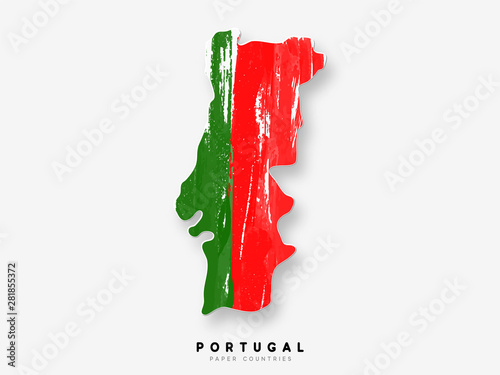 Fotografía Portugal detailed map with flag of country