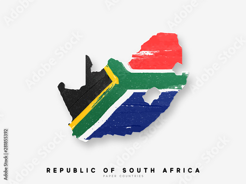 Fotografia Republic of South Africa detailed map with flag of country