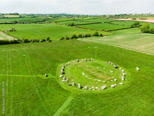 Photo Ballynoe stone circle, a prehistoric Bronze Age burial mound surrounded by a cir