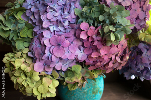 Foto Bouquet of colored hydrangea in a vase, fragment, close-up.