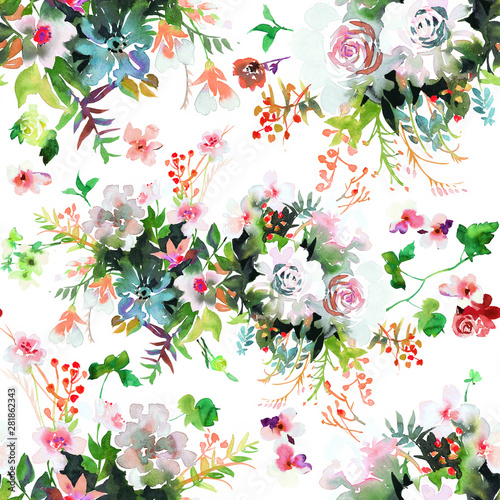 Obraz Watercolor floral seamless pattern.  Opulent bunches of large roses with leaves. Botanical background for textile, fabric, wrapping or surface. - fototapety do salonu