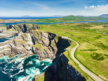 Amazing Wave Lashed Kerry Cliffs, The Most Spectacular Cliffs In County Kerry, Ireland. Tourist Attractions On Famous Ring Of Kerry Route.
