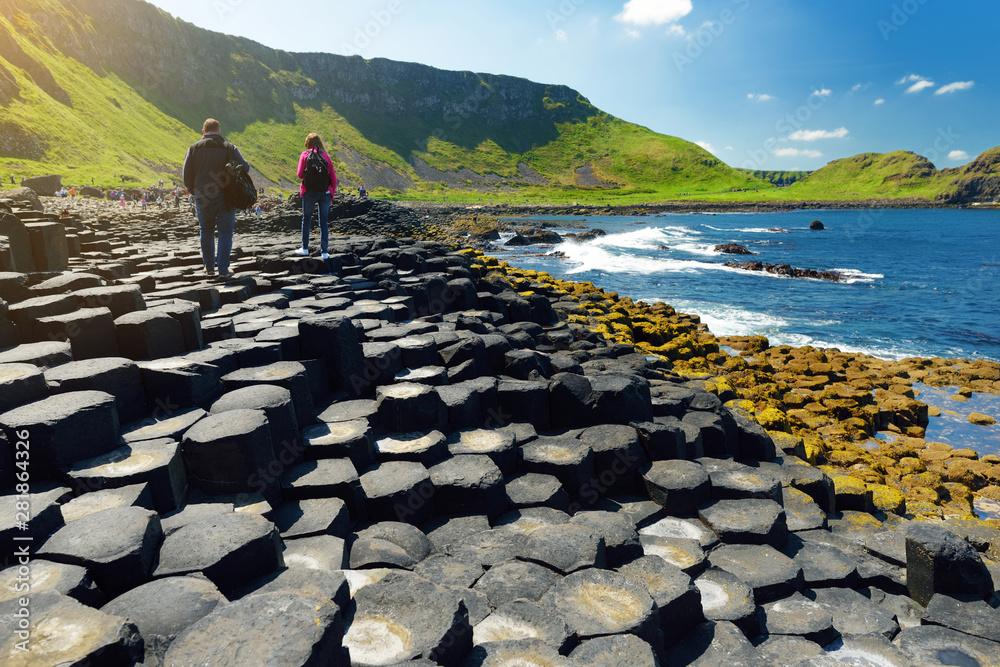 Fototapeta Giants Causeway, an area of hexagonal basalt stones, County Antrim, Northern Ireland. Famous tourist attraction, UNESCO World Heritage Site.