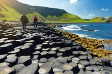 Giants Causeway, An Area Of Hexagonal Basalt Stones, County Antrim, Northern Ireland. Famous Tourist Attraction, UNESCO World Heritage Site.