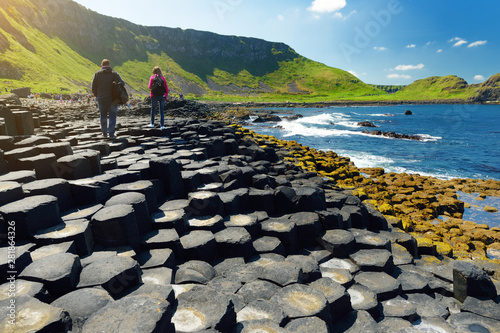 Poster Northern Europe Giants Causeway, an area of hexagonal basalt stones, County Antrim, Northern Ireland. Famous tourist attraction, UNESCO World Heritage Site.