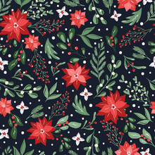 Seamless Pattern With Hand Drawn Poinsettia Flowers And Floral Branches And Berries, Mistletoe, Christmas Florals. Repeating Background For Wrapping Paper, Fabric, Stationary Products Decoration.