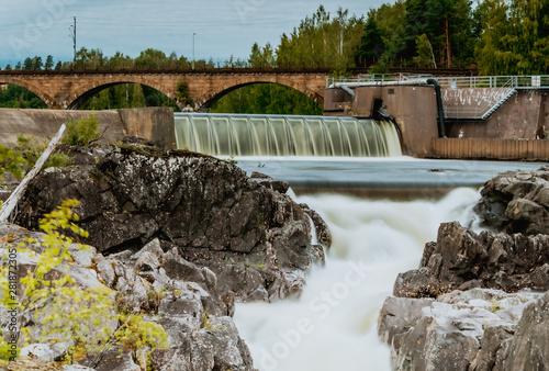 Hønefossen, Hønefoss, wodospad, waterfall w mieście